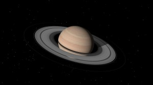 Jim Blinn's computer rendering of Saturn for the Cosmos TV Series.
