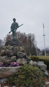 A statue of a Minuteman, Lexington Battle Green